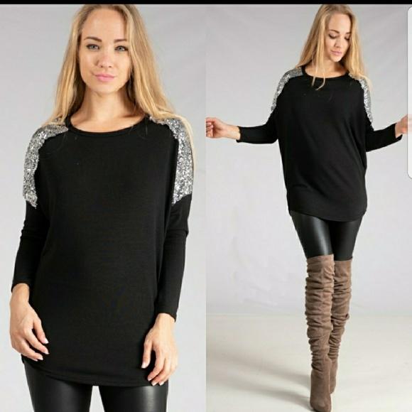 518a1de6e9b Black Tunic With Silver Sequin Shoulder Accents! Boutique. Fashionomics